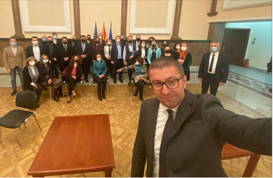 Members of Parliament from VMRO-DPMNE express their support for party leader Mickoski