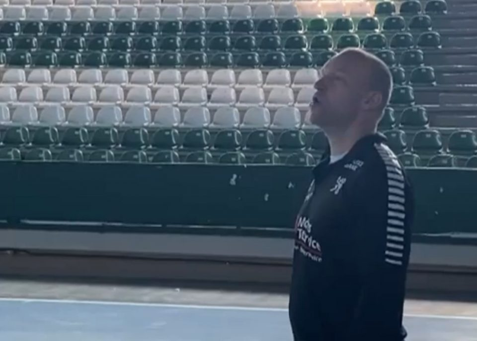 Danish handball team protests freezing conditions before their game in Bitola