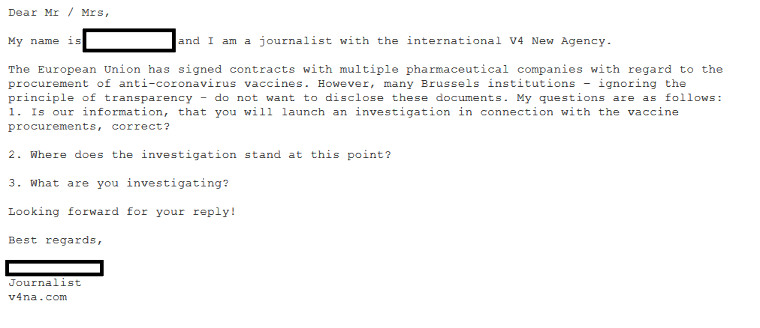 V4: OLAF doesn't deny that it investigates vaccine procurements