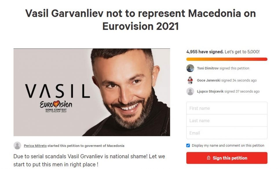 Petition to withdraw Vasil Garvanliev as Macedonia's representative in the Eurovision song contest
