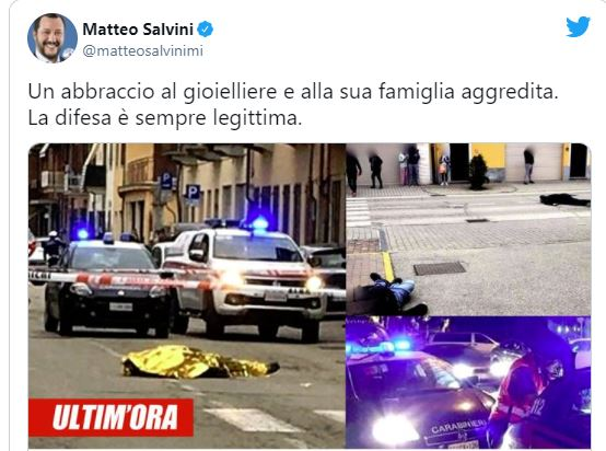 Matteo Salvini: Everyone has a right to self-defence