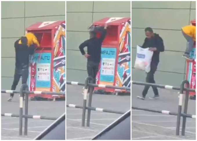 Video from Skopje shows a man endangering a child to rob a used clothes donation box