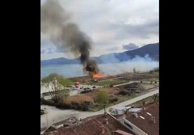 New fire in the reeds on the Struga shoreline