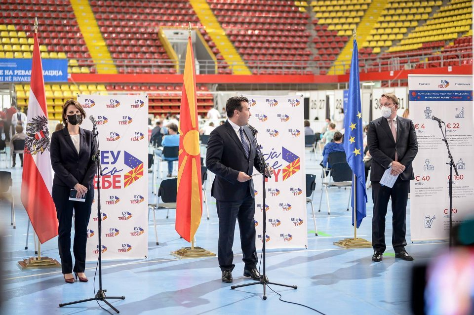 Zaev, Várhelyi and Edtstadler at joint press conference: This day is an expression of solidarity and unity