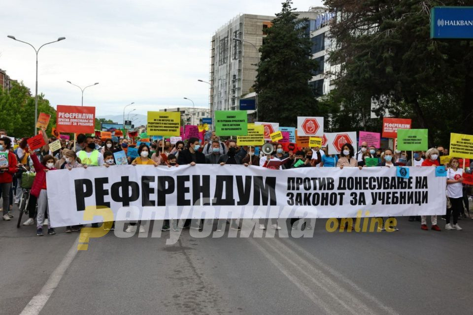Thousands gather to call on Education Minister Mila Carovska to resign