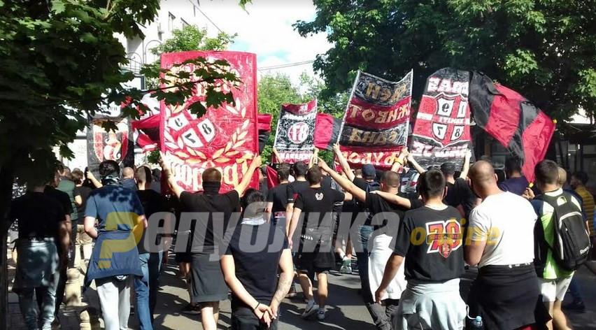 Vardar fans gather to protest the club's relegation