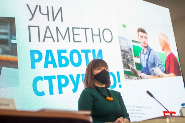 Minister Carovska praises trades education and programs to bring in foreign manufacturing investments – policies long maligned by her SDSM party