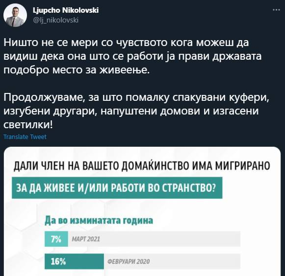 Zaev's deputy claims credit for the reduction in the emigration rate caused by the pandemic