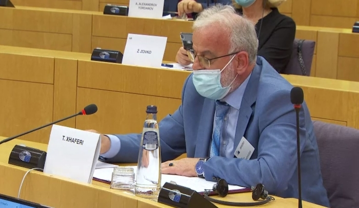 Macedonia's Speaker Xhaferi addresses the EU Parliament in Albanian language