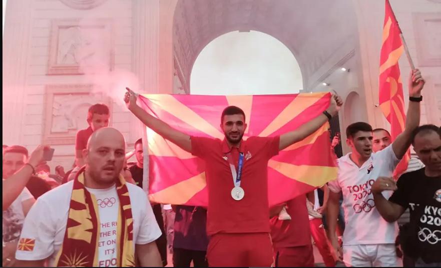Dejan Georgievski, who won the silver medal in taekwondo at the Tokyo Olympics, welcomed back in Skopje