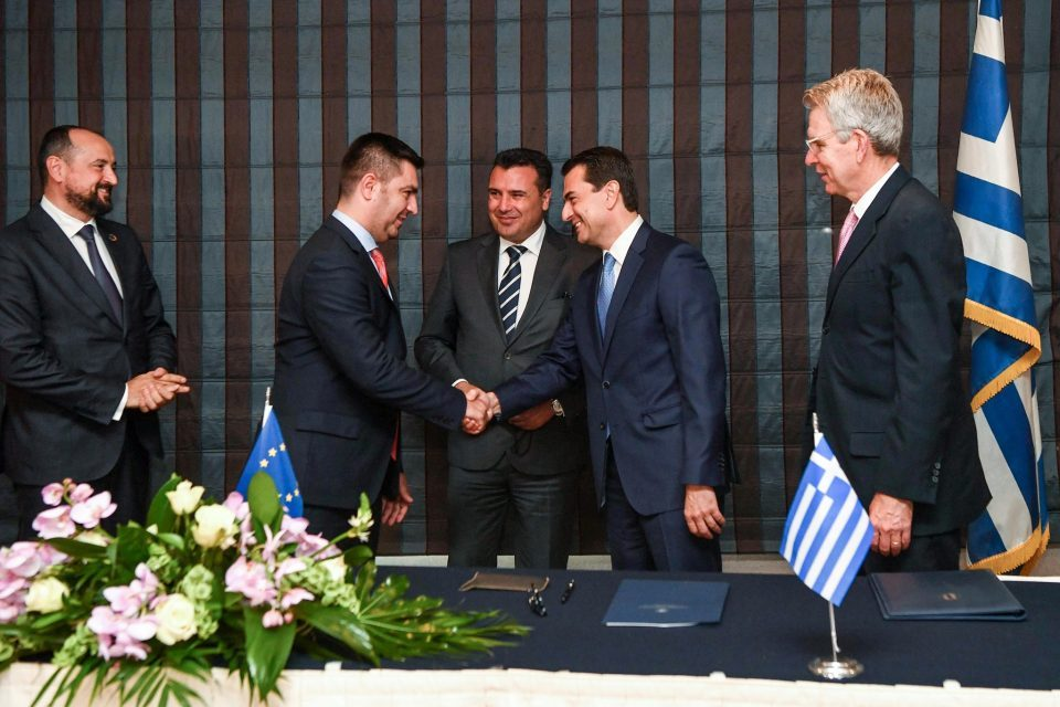 Zaev and Ambassador Pyatt attend the signing of an agreement for a gas connector between Macedonia and Greece