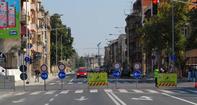 Traffic disruption in downtown Skopje due to a biking event