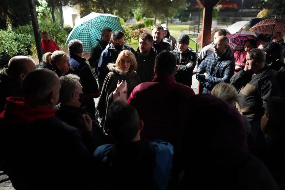 Danela Arsovska tells the citizens of Lisice that she will clean up the old Vardariste dump site